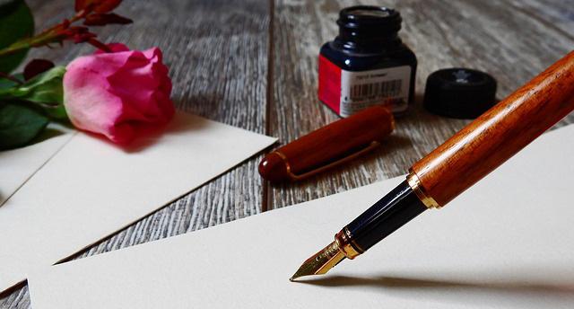 Carta de amor romántica escrita a mano