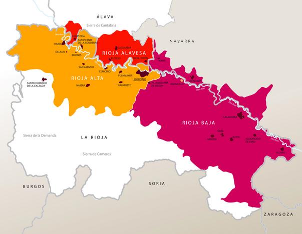 Mapa de la Denominación de Origen Calificada Rioja