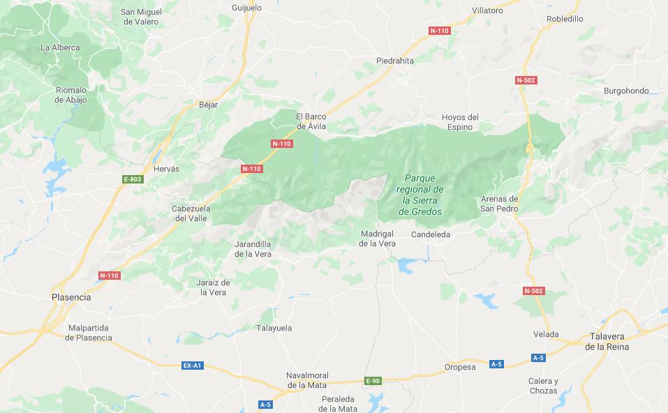 Mapa de la Sierra de Gredos, Ávila