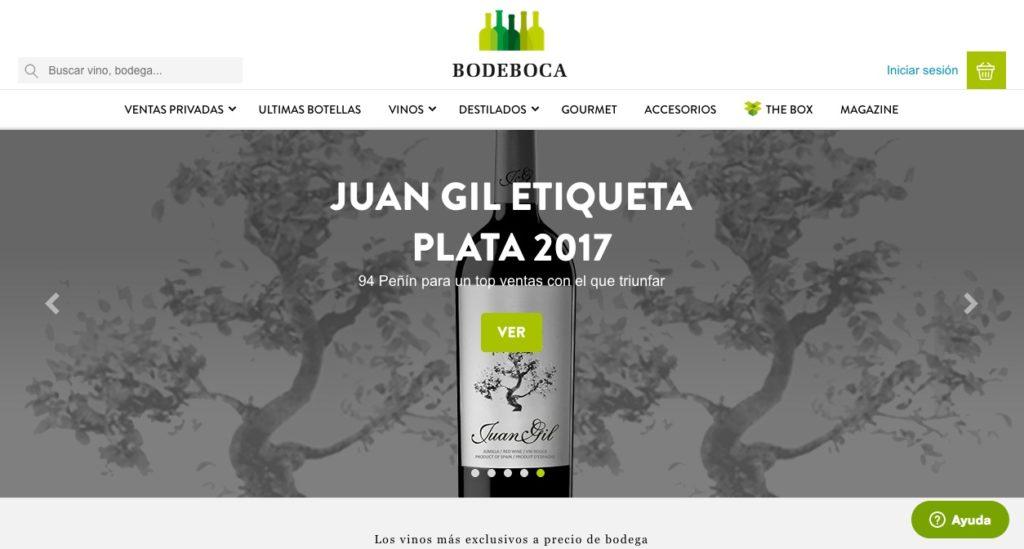 Web de compra de vino Bodeboca