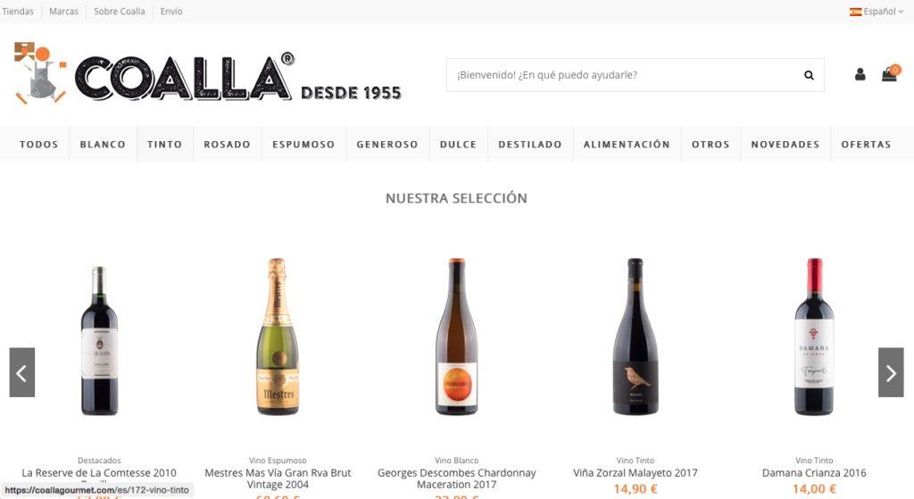 Web de compra de vino Coalla Gourmet