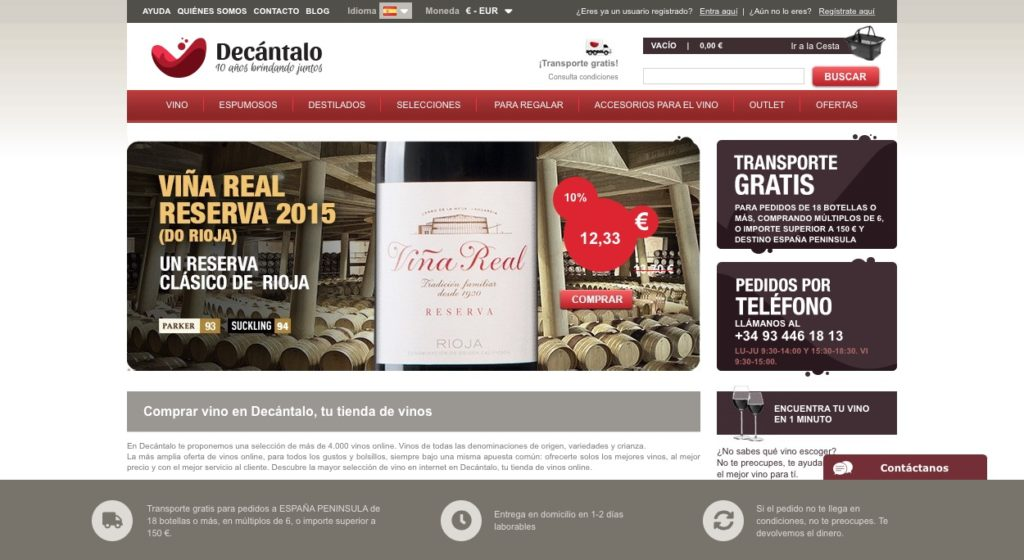 Web de compra de vinos Decantalo