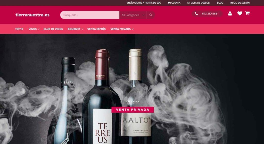 Web de compra de vino Tierra Nuestra