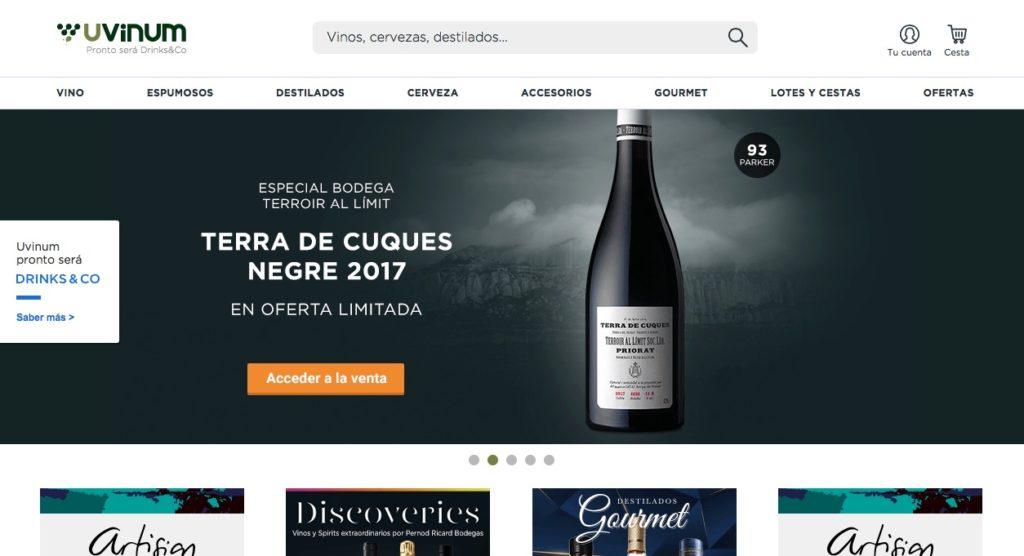 Web de compra de vino Uvinum