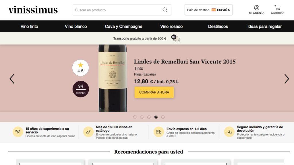 Web de compra de vino Vinissimus