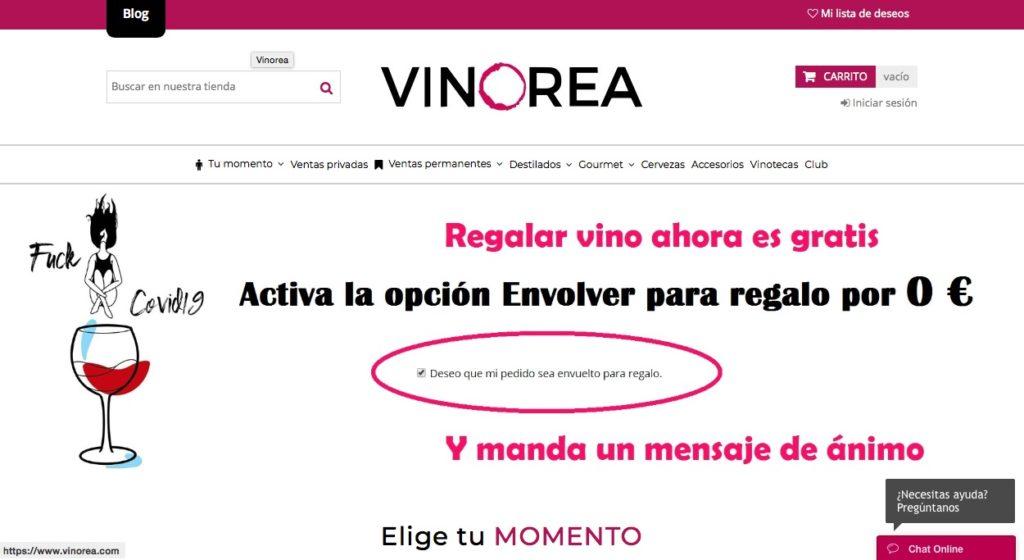 Web de compra de vinos Vinorea
