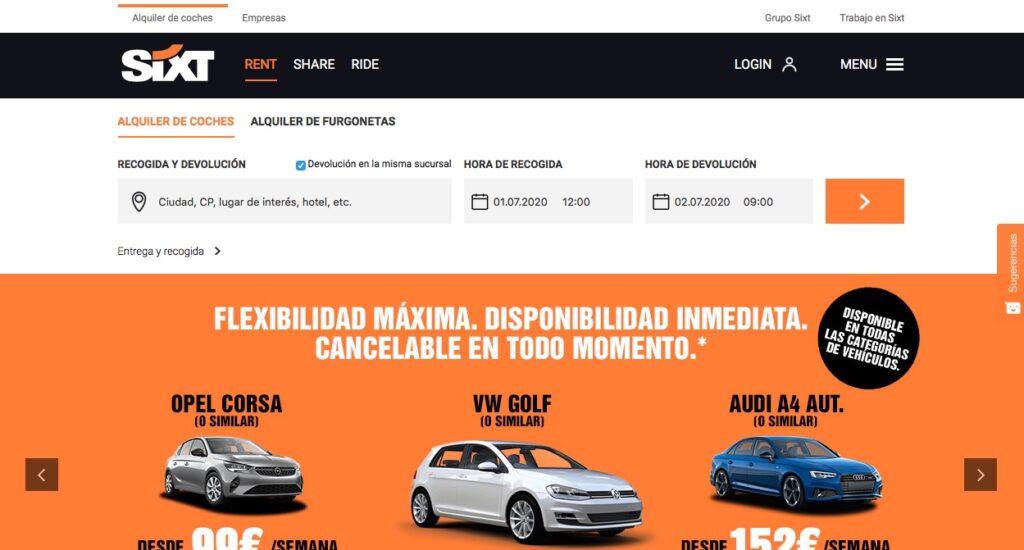 Compañía de alquiler de coches baratos Sixt