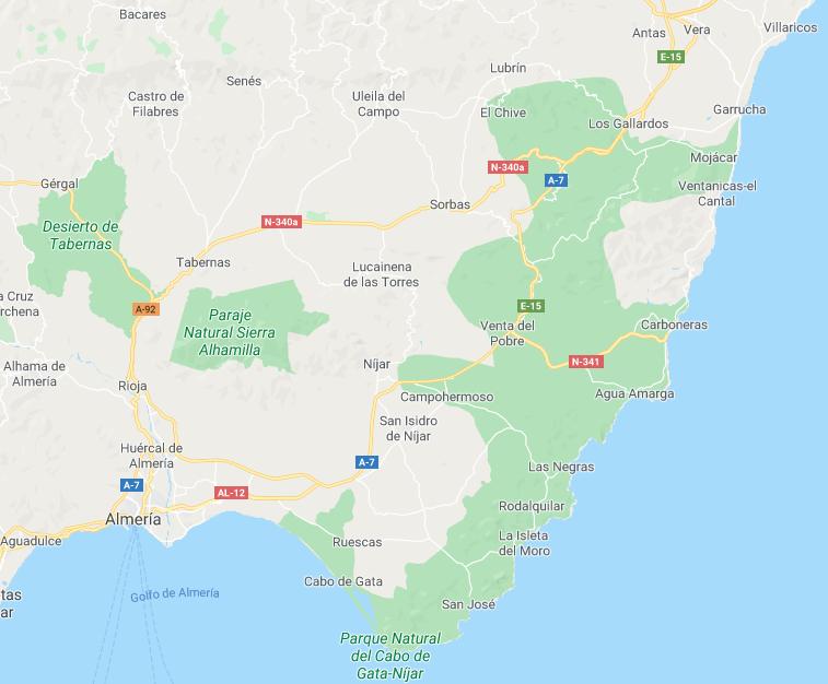 Mapa de Cabo de Gata, Almería