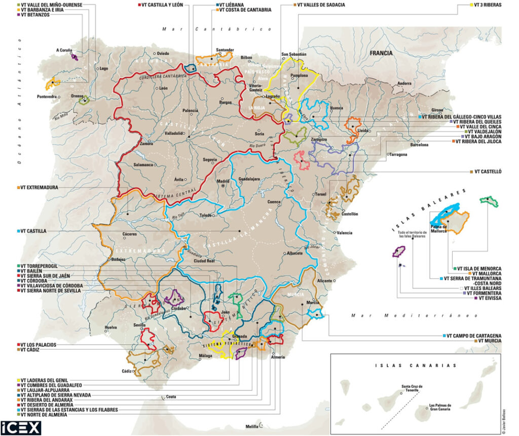 Mapa de IGP de vinos de España