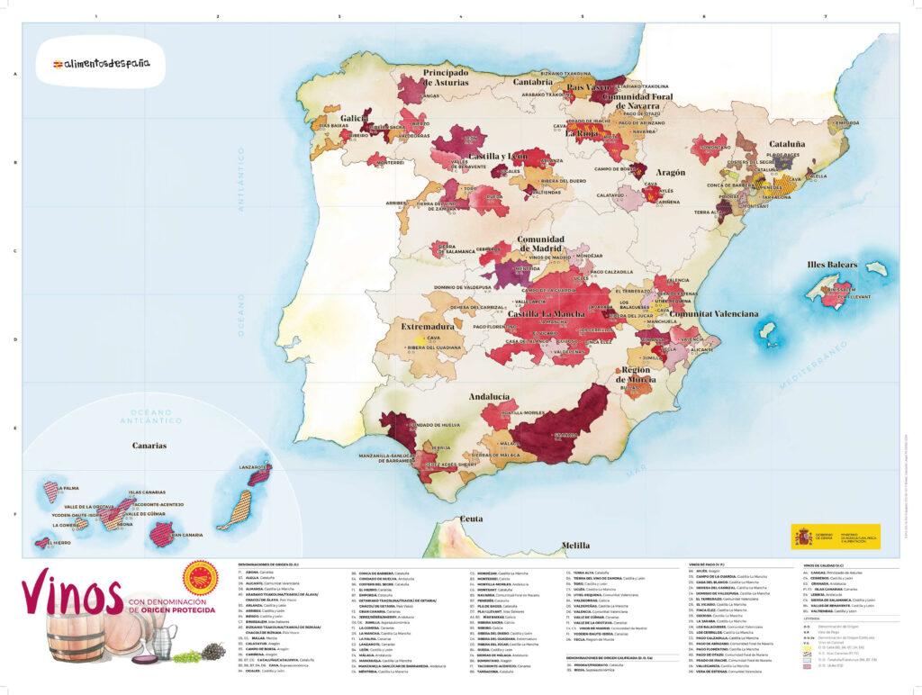Mapa de denominaciones de origen de vinos de España