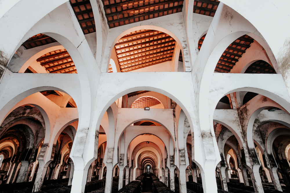 Interior de La Catedral en antiguas bodegas Fundador, en Jerez de la Frontera, Cádiz